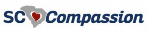 Blue Red Grey White horizontal logo for SC Compassion